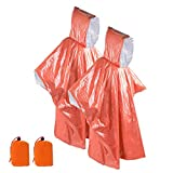 ACVCY Emergency Survival Rain Poncho Thermal Survival Space Blanket Thermal Raincoat Heat Reflective Waterproof with Hood for Camping Hiking (2 Pack)