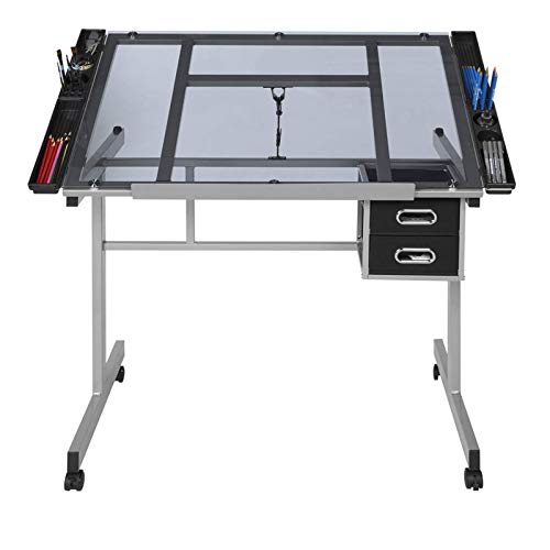 NECZXW1 Verstellbarer Zeichentisch, 8 mm Tischplatte aus gehärtetem Glas Zeichentisch Workstation Lerntisch, geeignet für Kinder, Erwachsene, Künstler, Hobbys, Malutensilien usw.
