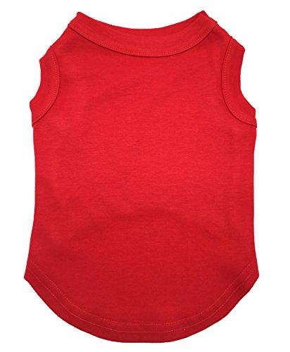 Petitebelle Puppy kleding hond jurk effen rood mouwloos katoen T-shirt