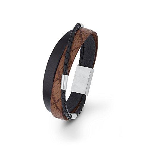 s.Oliver Herren-Armband mehrreihig Edelstahl Leder 21 cm