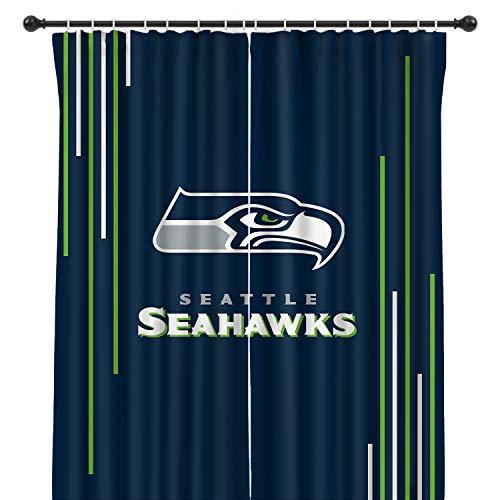 MAYMEET Seahawks Football Team Blackout Curtain Panels Window Drapes for Living Room Bedroom Home, 2 Panel Set