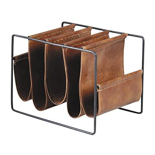 Zeitungsständer 5Fächer aus Metall und Leder