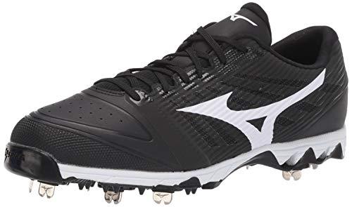 Mizuno Herren 9-Spike Ambition Low Metal Baseball Schuh, Herren, 9-Spike Ambition Low Mens Metal Baseball Cleat, Schwarz-Weiß (9000), 10