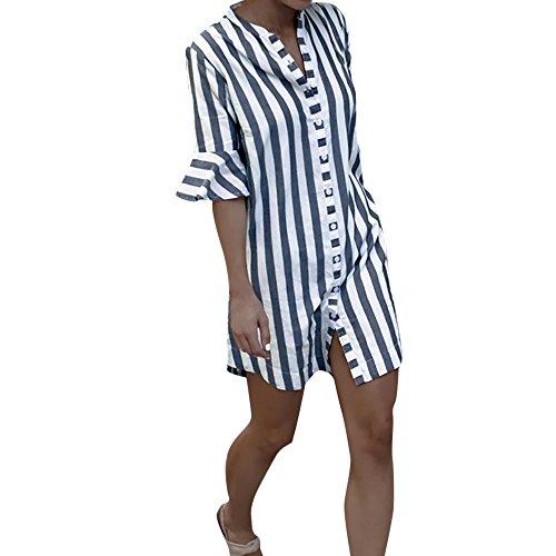 LSAltd Damen Mode Gestreiftes Shirt Kleid Damen Umlegekragen Bluse Halbes Hülsen Oberteile T-Shirt Elegante Knopfleiste Lose Baggy Hemd