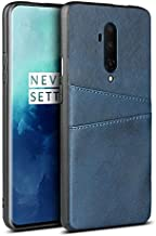 Zhulonglong For OnePlus 7T Pro Leather Wallet Case, Retro Synthetic PU Leather Case Snap-on Phone Cover with 2 Credit Card Holders Multifunctional Wear-resistant Classic (Color : Blue)