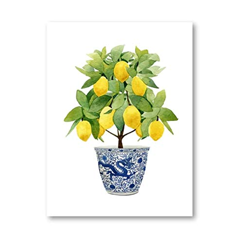 RuiChuangKeJi Impresiones para Paredes 70x90cm sin Marco Jardinera con Estampado de limón Bonsai Zen Arte Oriental Azul Blanco Estilo de Sauce Cartel de limón Decoración de Cocina