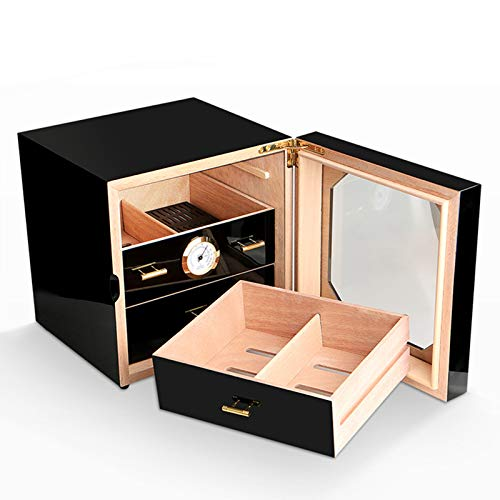 SDFAWEFA Professionelle Zigarren Humidor Zedernholz Aufbewahrungsbox, Glasdeckel Zigarrenschachtel Mit Hygrometer und Luftbefeuchter, Handgefertigter Desktop Cigar Display Stand