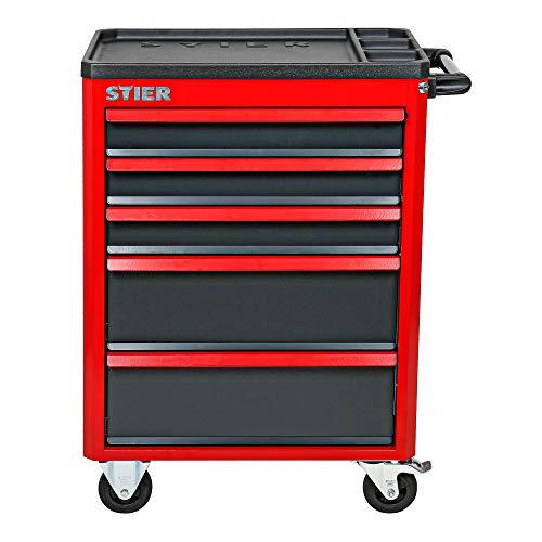 STIER Werkstattwagen Basic+, mit Kunststoffabdeckung, unbestückt – leer, Werkzeugwagen – Montagewagen, Max. Belastung - 3