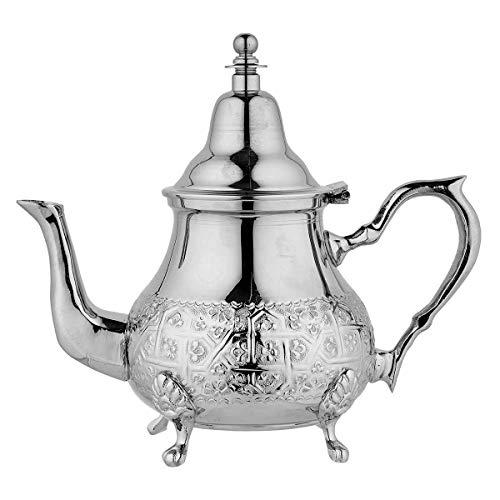 SULTAN TEA Teiera d'Argento marocchina Piccola teiera Tradizionale incisa a Mano con infusore in Acciaio Inossidabile Perfetto per Foglie di tè e bustine di tè