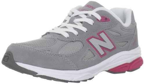 New Balance Kid's 990 V3 Sneaker, Grey/Pink Trim with White Laces, 12 M US Little Kid