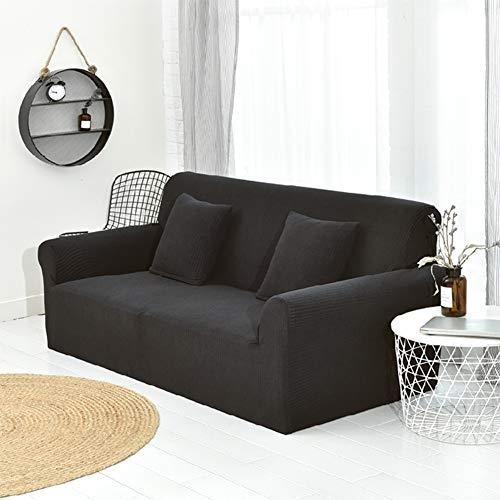 WJX&Likerr Elástico cubierta de sofá slipcover completo, antideslizante combinación cubierta sofá color cubierta sofá sólido poliéster spandex sofá de la tela towelBlack