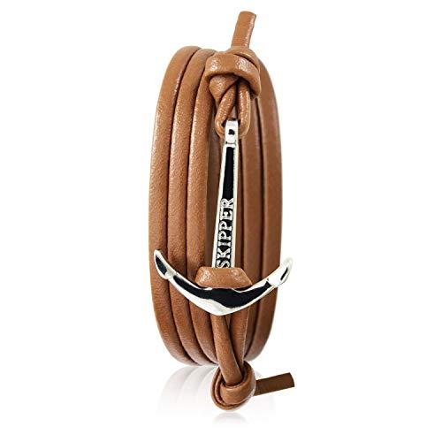 Skipper Leder-Armband mit Silbernem Edelstahl Anker für Damen und Herren - Cognac 7248