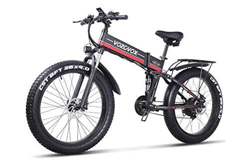 VOZCVOX Electric Bike 26' Electric Mountain Bike Fat Tyres,48V 1000W,21-Speed Shimano,Full Suspension