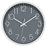 Foxtop Silent Quartz Wall Clock Non-Ticking Decorative Battery Operated Clock Modern Simple Style for Living Room Home Office School (Gray, 12 inch)