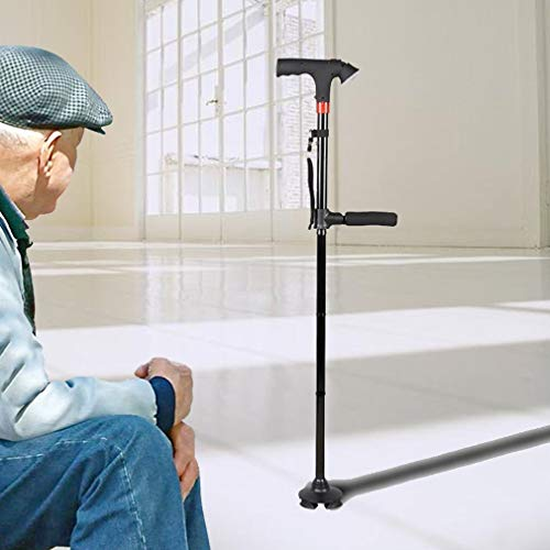 SUNTAOWAN Viejo Hombre Caminando bastón telescópico Bastones de muleta del bastón en Edad T Handle Poste Parril Plegable Senderismo Caminando Ancianos con Alarma iluminada