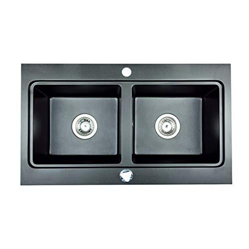 Lavello in granito con trappola | 79,5 x 45,5 cm | Doppio lavabo per mobile da 80 cm | Lavello da incasso con scarico e troppopieno di Brenor (2 sifoni, automatico), colore: nero