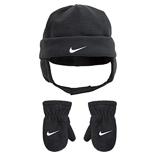 Nike Baby Fleece Chin Strap Trapper Hat and Mittens 2 Piece Set (Anthracite(7A2781-693)/White, 12-24 Months)