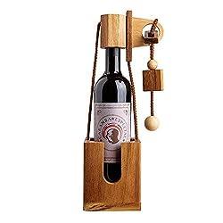 Casa Vivente Flaschenpuzzle aus dunklem Holz, Geduldspiel, Verpackung für Weinflaschen, Höhe 35 cm