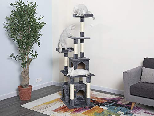 """Go Pet Club 67"""" Classic Cat Tree Condo Furniture with Sisal Scratching Posts"""