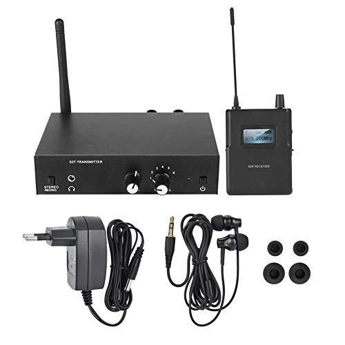 Sistema de Monitor inalámbrico estéreo UHF S2 Sistema intrauditivo Transmisor y Receptor 100-240V(Enchufe de la UE)