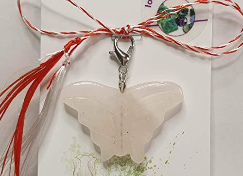 IohanaSchmuck Martisor, Charm, Anhänger aus Edelsteine, Rosenquarz Schmetterling, handmade, eigene Herstellung