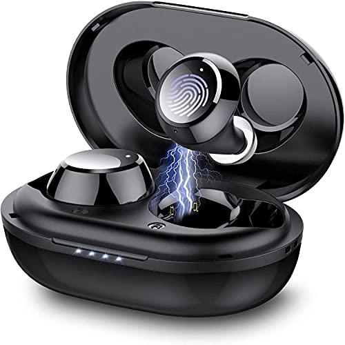 Taopod Cuffie Bluetooth, Auricolari Wireless con Custodia di Ricarica, Suono Stereo Hi-Fi, IPX7 Waterproof, Cuffie CVC8.0 con Microfono, Comfort Fit, 36 ore di Riproduzione per Sport Ufficio