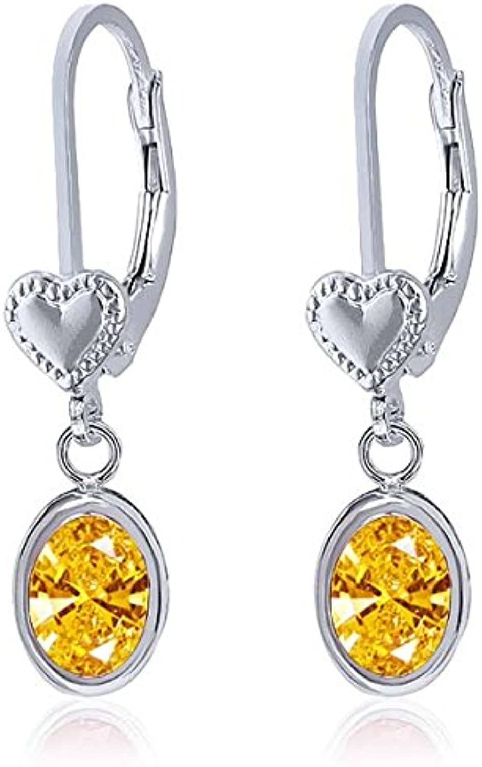 Carlo white golden Yellow 925 Sterling Silver Earrings Made With Swarovski Zirconia