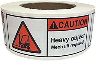 MR Label Company Caution Heavy Object Mech Lift Required Rolls