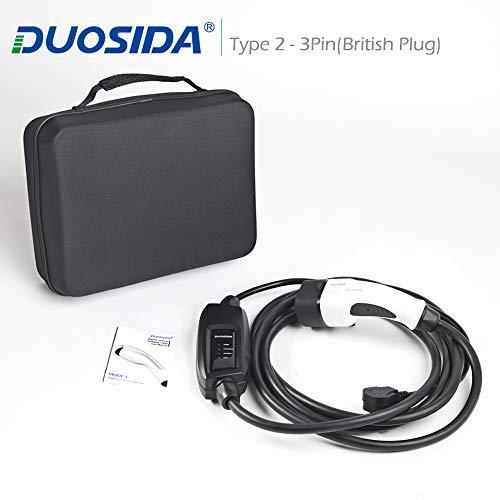 DUOSIDA Cargador portátil EV tipo 2 UK 3 pines (13a) cable de carga para vehículos eléctricos (8,5 m)