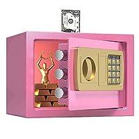 デジタルセキュリティセーフボックス、ダブルセーフティキーロックとパスワード、ホームオフィス用の特別な独自のインテリアIockingボックス、ブラウン