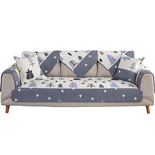 YUTJK Cubierta de cojín de sofá de algodón Sarga,Funda de Sofá/Funda de sofá Antideslizante/Funda de Sofá/Lavable/Antiácaros/Antiarrugas,Blanco_110×110cm