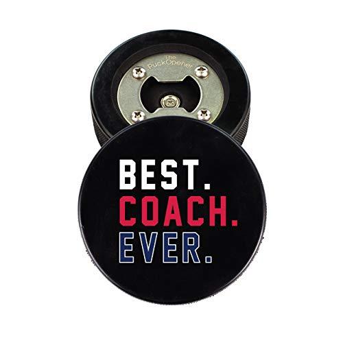 Hockey COACH Geschenke,-Flaschenöffner aus echtem Hockey Pucks, Cap Catcher, Untersetzer Best Coach Ever 3