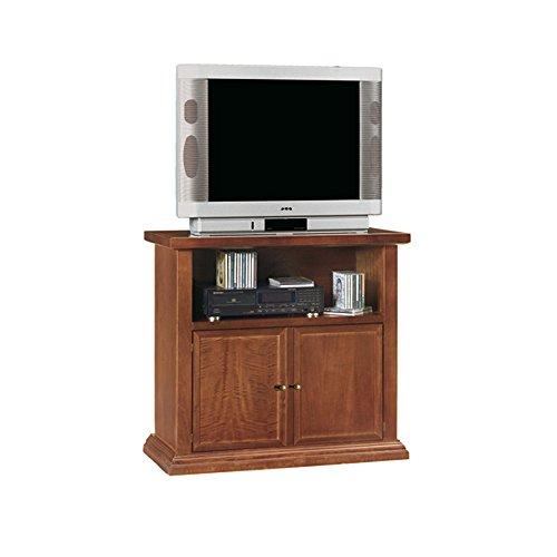 InHouse srls Mobile Porta TV, Arte povera, in Legno massello e MDF con rifinitura in Noce Lucido - Mis. 84 x 40 x 80