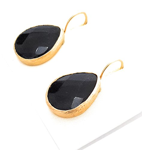 BRANDELIA Pendientes Colgantes Forma Gota de Lágrima con Piedra Semipreciosa Negra Facetada (Corte Diamante) 24K Baño de Oro, Negro