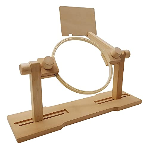 Embroidery Hoop Stand Holder, Adjustable Table Embroidery Stand for Q-Snap Frame, Wooden Cross Stitch Stand Holder for 2 People Embroider with Instruction Board