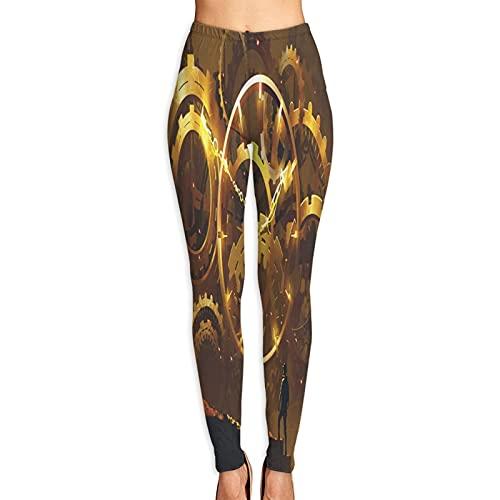 YANAIX Pantalones de Yoga para Mujer,Hombre de pie Frente a Gran Reloj Dorado ilustración,Pantalones de Entrenamiento de Cintura Alta Medias elásticas de Yoga Impresas S