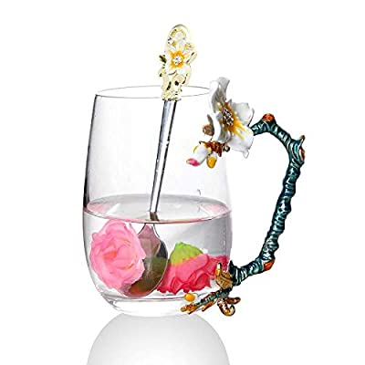 Goodking Glass Tea Cup Enamel Flower Glass Tea Mug Coffee Mug with Handle For Women Grandma Mom Wife Teachers Female Friend 12oz