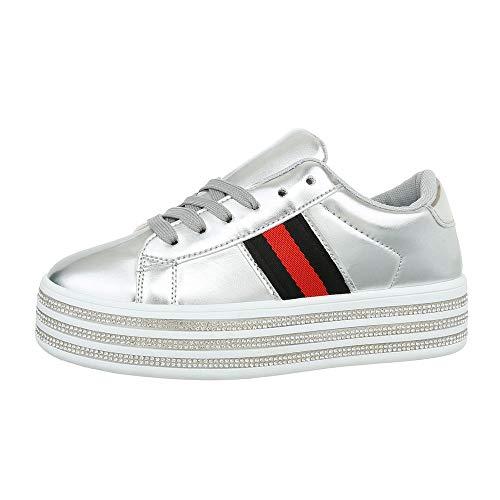 Ital-Design Damenschuhe Freizeitschuhe Sneakers Low Synthetik Silber Gr. 40