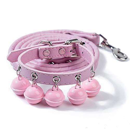 FZQ halsband voor huisdieren, schattige set, eenkleurig, klokken, PU-leer, slijtvast, gesp van metaal, gezond en comfortabel, meerkleurig, accessoires voor katten, roze