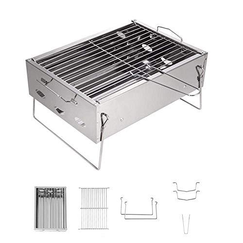 Carbone Barbecue scrivania, mini barbecue a carbonella Griglia for barbecue piegatura dell'acciaio inossidabile Barbecue Spiedino Griglia for barbecue 3 persone campeggio esterno picnic-Silver leilims