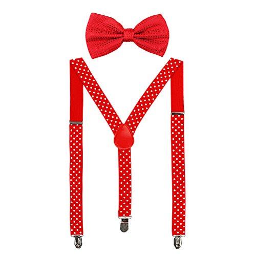 HABI mehrfarbig elastisch gepunktet Hosenträger Y-Form Länge für Damen und Herren mit den starken Clips Playshoes und Fliege in verschiedenem Design (5)