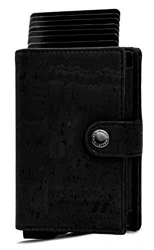 MAGATI Slim Wallet NAGA - Kreditkartenetui mit Münzfach, Geldscheinfach - Geldbörse, Geldbeutel aus Korkleder Vegan, Aluminium mit RFID-Schutz - bis zu 12 Karten - Kohlschwarz Kork