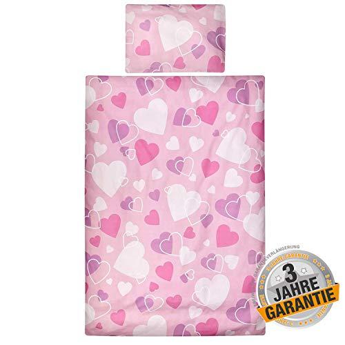 Aminata Kids süße Kinderbettwäsche Herz-Motiv für 100x135 40x60, Baumwolle mit verdeckten Reißverschluss, weiß, pink & rosa mit Herzen Kinder-Bettwäsche-Set für Mädchen & kleine Prinzessinnen