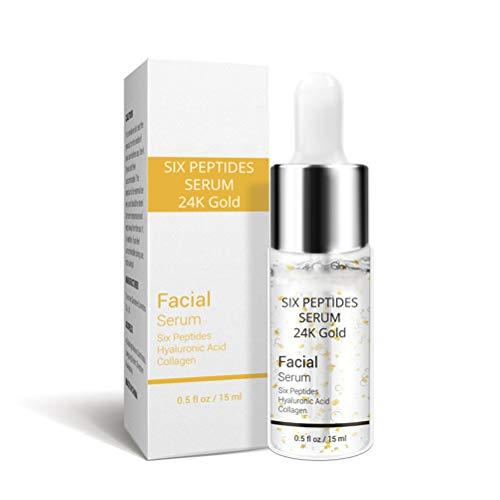 Yuciya Seis Péptidos Crema Facial Sérica, Crema de Esencia Facial Anti-Envejecimiento Antiarrugas Reafirmante Blanqueamiento Hidratante