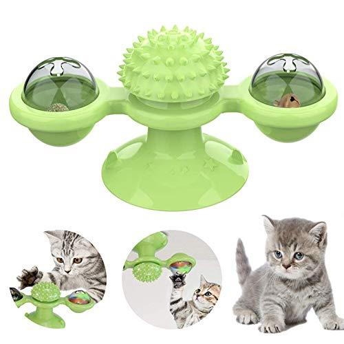 ETHEL Juguetes interactivos para Gatos,Juguete Gato Giratorio,Juguete de Gato Molino de Viento,Muelles en Espiral de Plástico para Gato Gatito Mascotas Novedad Regalo, Juguetes para Mascotas (Verde)