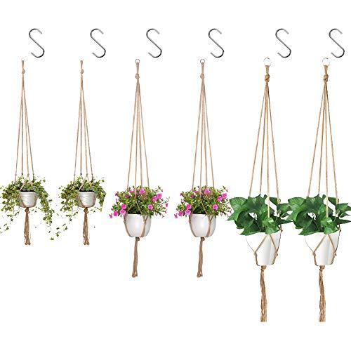 JEZOMONY 6 PCS Macrame Plant Hanger with 6 Hooks Indoor Outdoor Hanging Plant Holder Hanging Planter Stand Blumentöpfe für Dekorationen, 3 Größen