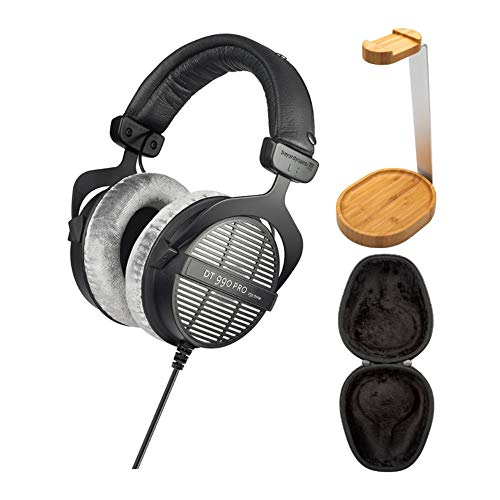 Beyerdynamic DT-990 Pro Acoustically Open Headphones (250 Ohms) with Knox Gear Hard Shell Headphone Case and Wooden Headphone Stand Bundle (3 Items)