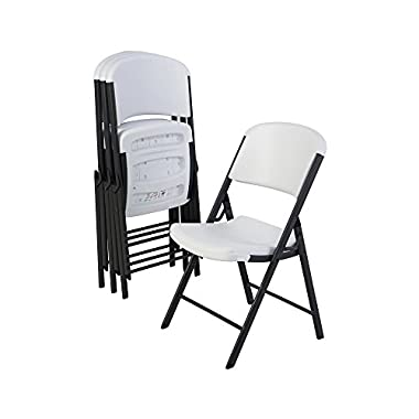 Lifetime 42804 Folding Chair with Molded Seat and Back, White Granite, Set of 4
