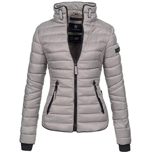 Marikoo Damen Jacke Steppjacke Übergangsjacke gesteppt mit Kordeln Frühjahr Camouflage B405 [B405-Lola-Grau-Gr.XS]