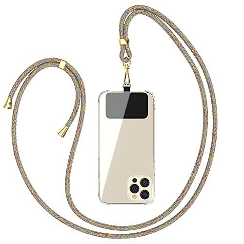 EAZY CASE Universal Handykette geeignet für alle Smartphones, Kette zum Umhängen, Hülle mit Kordel, Smartphonekette für Unterwegs, Handyband mit jeder Hülle kombinierbar, Rainbow